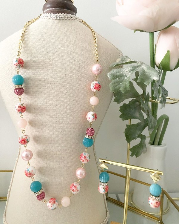 Tranquil Pink and Turquoise Sakura Long Necklace only - Diary of a Miniature Enthusiast