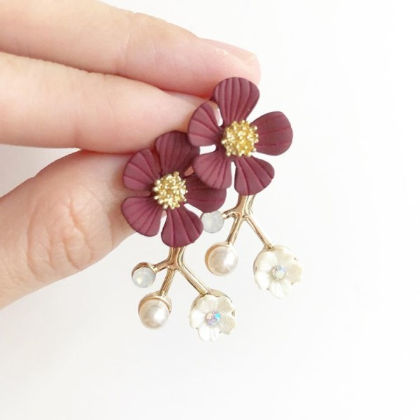 Red and Gold with Pearl Floral Earrings - Diary of a Miniature Enthusiast