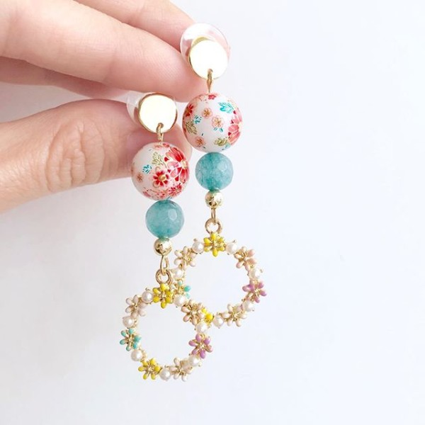 Tranquil Sakura Pink & Turquoise Flower Garland - Diary of a Miniature Enthusiast
