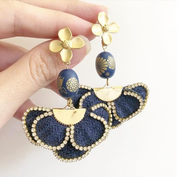 Navy Kimono Rhinestone Flare Earrings - Diary of a Miniature Enthusiast