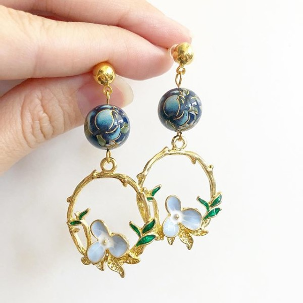 Navy Rose Fairytale Earrings - Diary of a Miniature Enthusiast