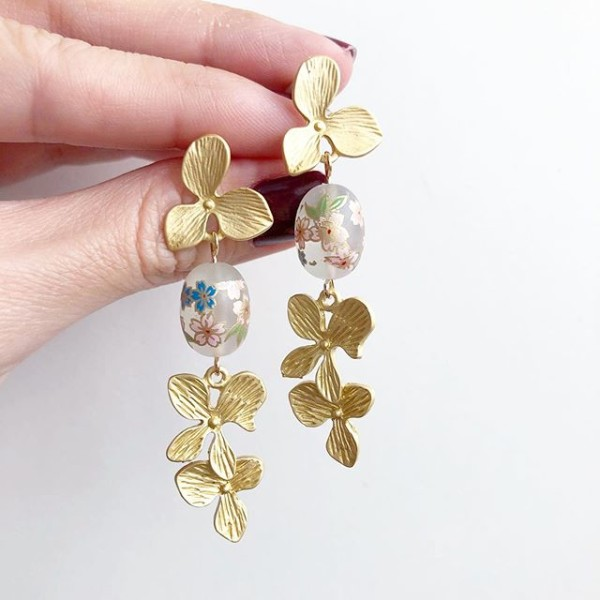 Frosted Sakura Petals Earrings - Diary of a Miniature Enthusiast