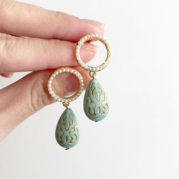 Green with Pearls Earrings - Diary of a Miniature Enthusiast