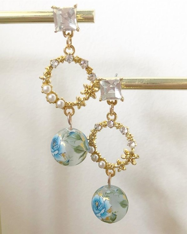 Blue and Pearls Floral Earrings - Diary of a Miniature Enthusiast
