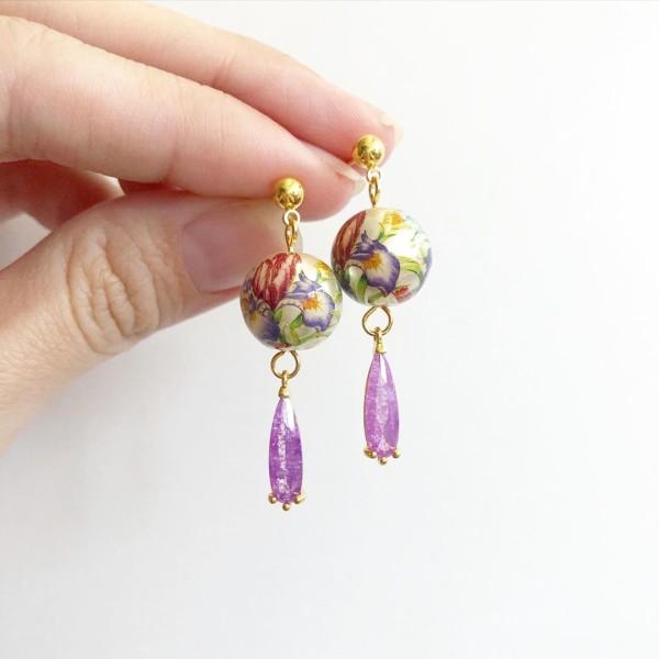 Purple Wildflowers Dainty Teardrop Earrings - Diary of a Miniature Enthusiast