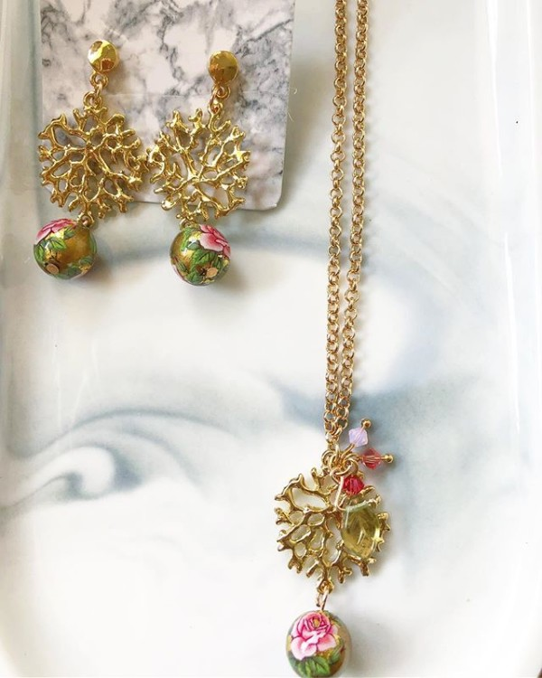 Pink, Gold and Green Floral Earrings and Necklace - Diary of a Miniature Enthusiast
