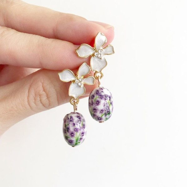 White and Purple Floral Earrings - Diary of a Miniature Enthusiast