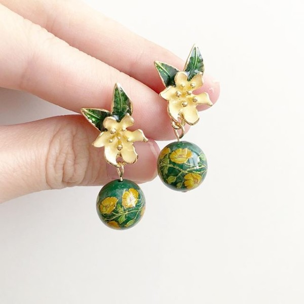 Yellow Floral on Vine Tensha Earrings - Diary of a Miniature Enthusiast