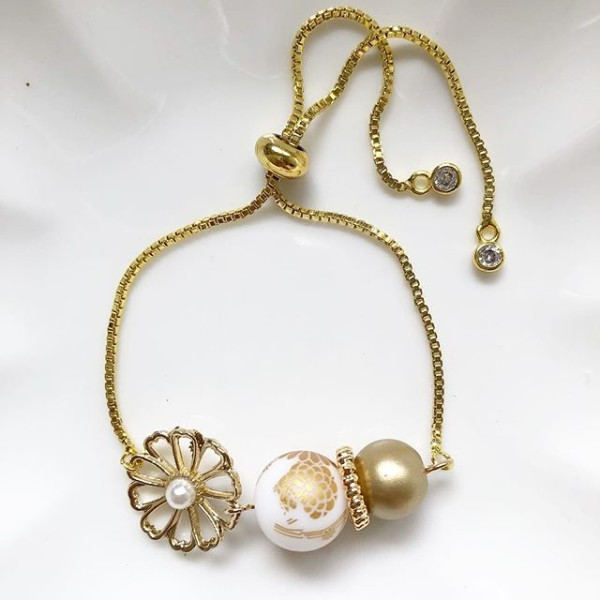 Winter Kimono Floral Adjustable Bracelet - Diary of a Miniature Enthusiast