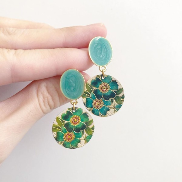 Turquoise Engraved Floral Earrings - Diary of a Miniature Enthusiast
