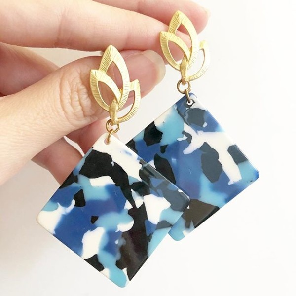 Blue Abstract Dangle Earrings - Diary of a Miniature Enthusiast