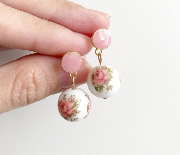 Pastel Pink Rose Plain Pink Earrings - Diary of a Miniature Enthusiast