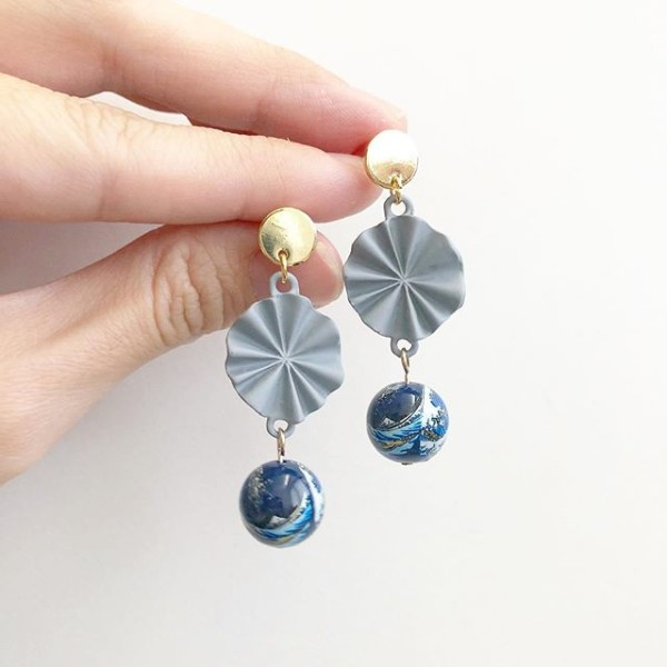 The Great Wave Long Earrings - Diary of a Miniature Enthusiast