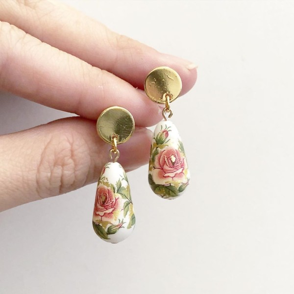 Classic Rose Garden Teardrop Earrings - Diary of a Miniature Enthusiast