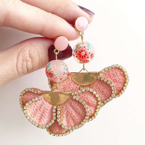 Frosted Sakura Rhinestone Trimmings Earrings - Diary of a Miniature Enthusiast