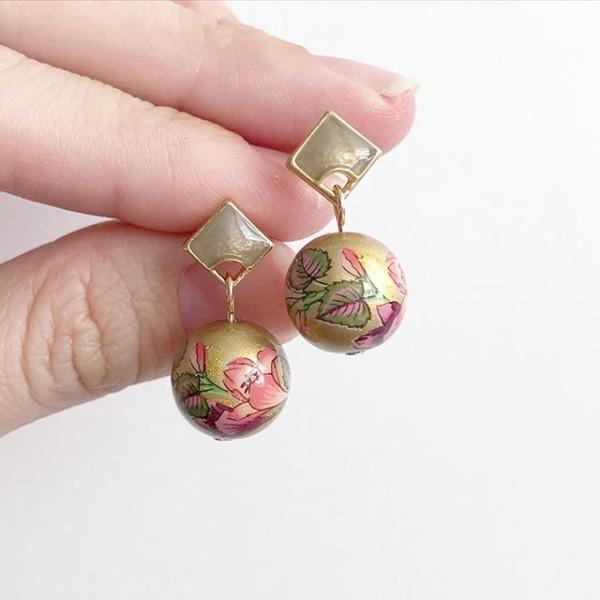 Gold Double Mauve Lilies Tensha Earrings - Diary of a Miniature Enthusiast