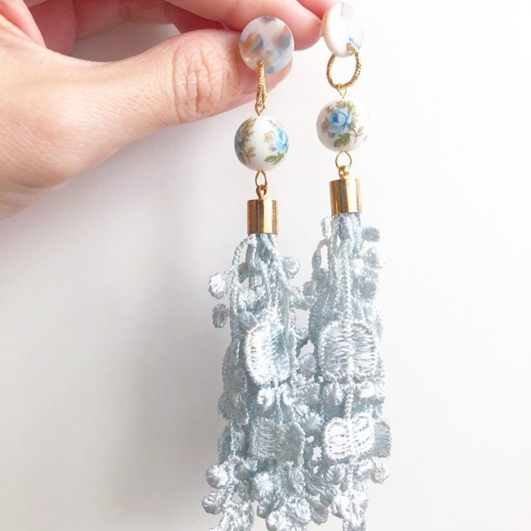 Baby Blue Rose Lace Long Earrings - Diary of a Miniature Enthusiast