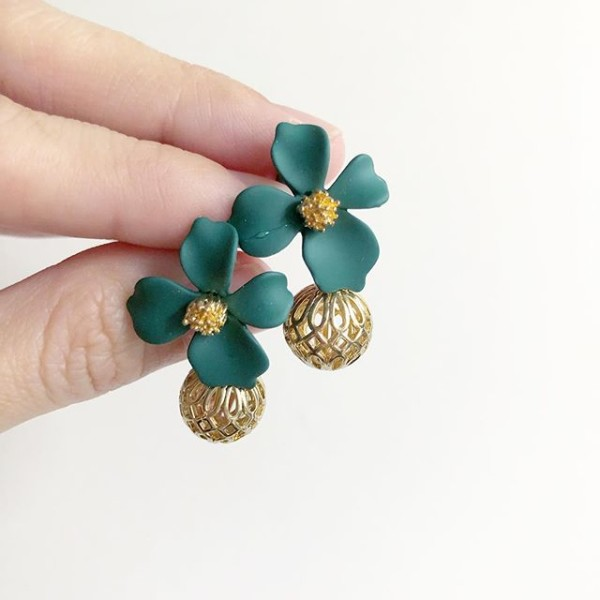 Green Floral and Gold Earrings  - Diary of a Miniature Enthusiast