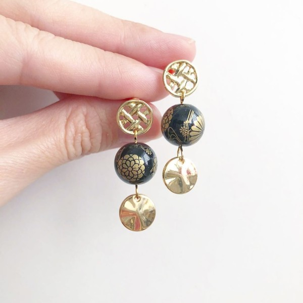 Black Kimono Gold Coin Earrings - Diary of a Miniature Enthusiast