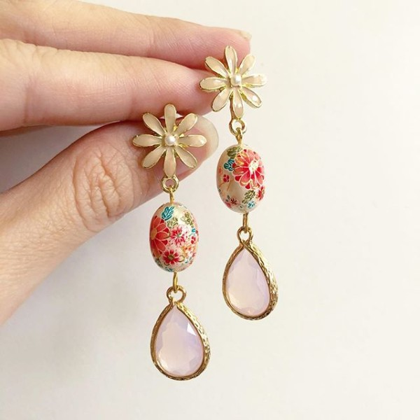 Pearl Sakura Blossoms Faceted Teardrop Earrings - Diary of a Miniature Enthusiast