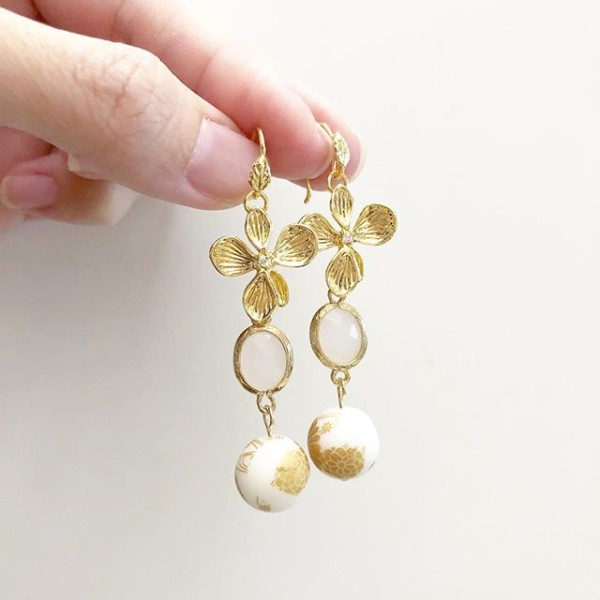 Matte White and Gold Floral Earrings - Diary of a Miniature Enthusiast