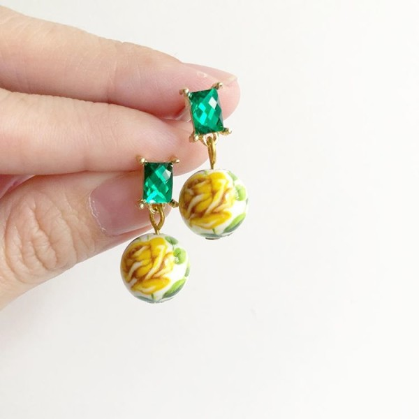 Teal Gem and Floral Earrings - Diary of a Miniature Enthusiast