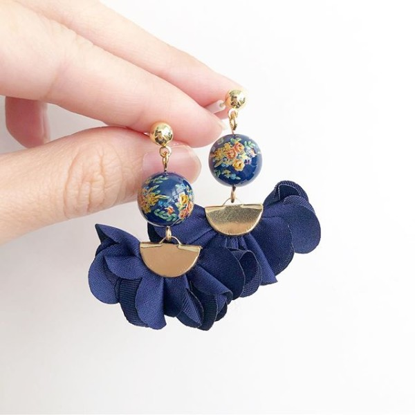 Navy Blue Bouquet Flare Earrings - Diary of a Miniature Enthusiast
