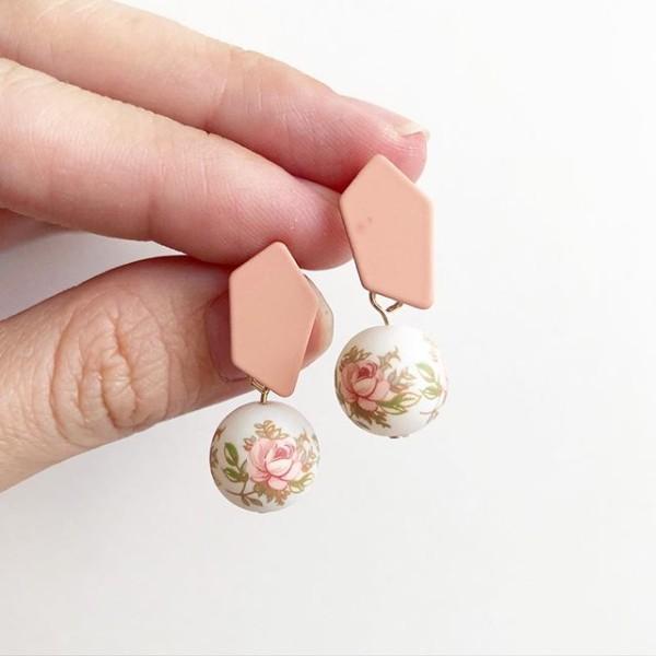 Pastel Pink Rose Tensha Earrings - Diary of a Miniature Enthusiast