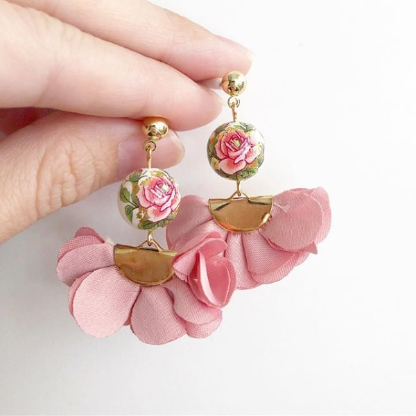 Pink Rose Flare Earrings - Diary of a Miniature Enthusiast