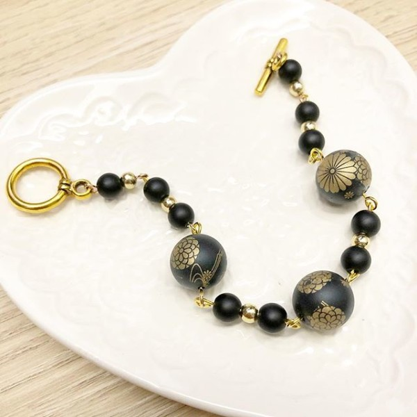 Matte Black and Gold Floral Bracelet - Diary of a Miniature Enthusiast
