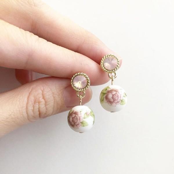 Pastel Lilac Rose Rhinestone Earrings - Diary of a Miniature Enthusiast