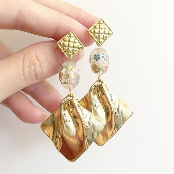 Frosted Sakura Gold Dangle Earrings - Diary of a Miniature Enthusiast