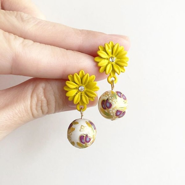 Purple Buds Yellow Floral Earrings - Diary of a Miniature Enthusiast