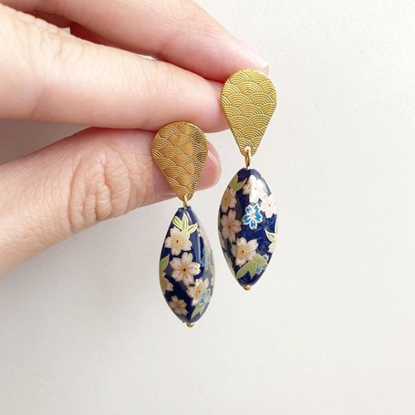 Navy Sakura Twist Tensha Earrings - Diary of a Miniature Enthusiast