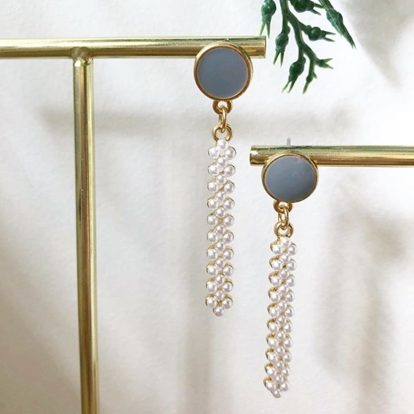 Grey with White Stones Earrings - Diary of a Miniature Enthusiast