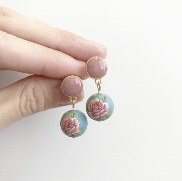 Classic Rose Dusty Blue Earrings - Diary of a Miniature Enthusiast
