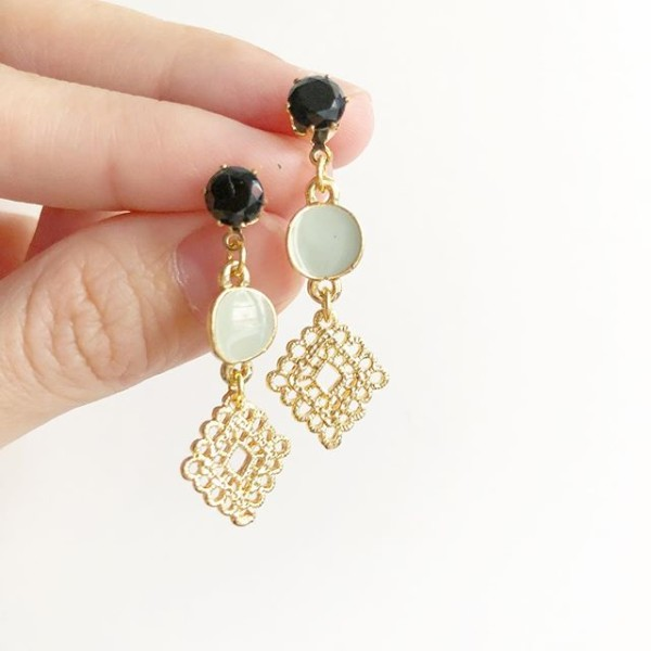 Gold and Black Earrings - Diary of a Miniature Enthusiast