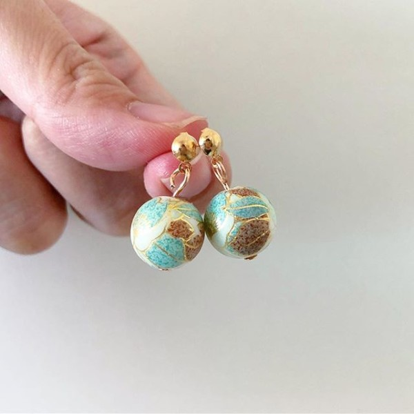 Blue and Brown Floral Earrings - Diary of a Miniature Enthusiast