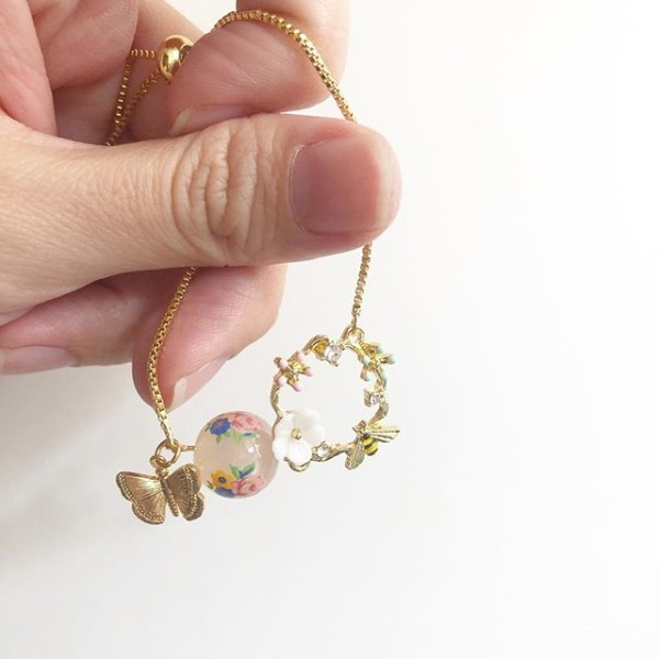 Garden Butterfly Opaline Blooms Adjustable Bracelet - Diary of a Miniature Enthusiast