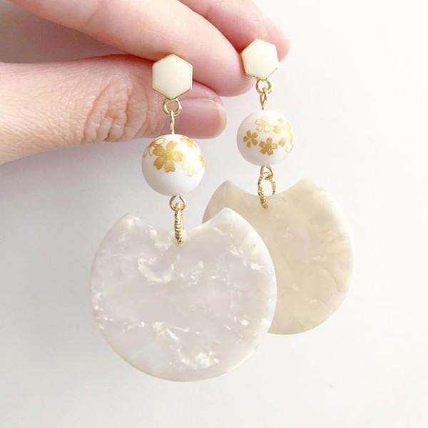 White Sakura Modern Earrings - Diary of a Miniature Enthusiast