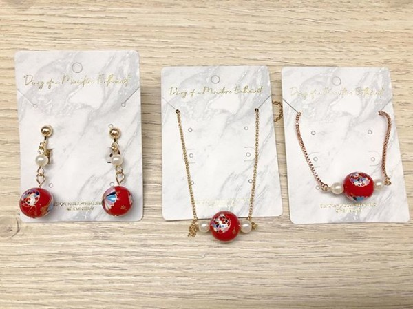 Red Floral Earrings, Bracelet and Necklace - Diary of a Miniature Enthusiast