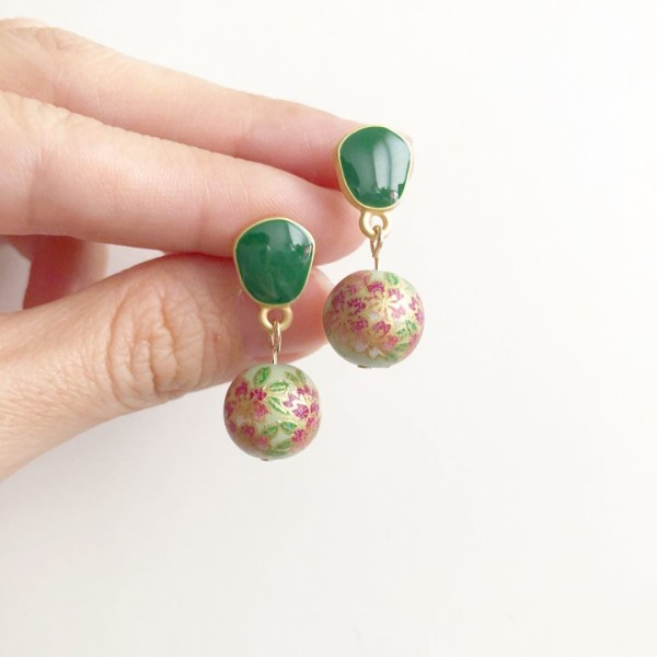 Sage Sakura Earrings - Diary of a Miniature Enthusiast