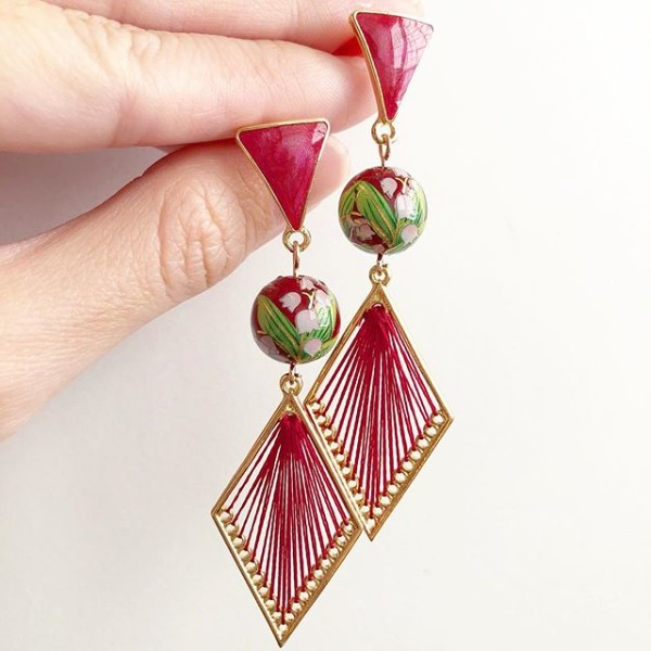 Wine Red Feather Grass Geometric Earrings - Diary of a Miniature Enthusiast