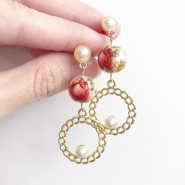 Pearl Red Rose Vintage Earrings - Diary of a Miniature Enthusiast