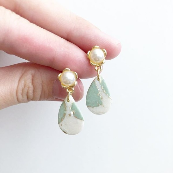 Sage & Serenity Small Teardrop Pearl Earrings - Diary of a Miniature Enthusiast