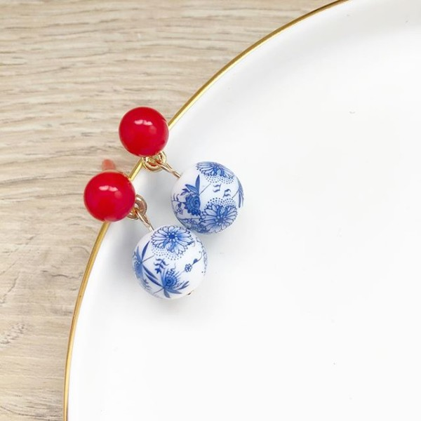 Chinoiserie Chic Red Bead Stud - Diary of a Miniature Enthusiast