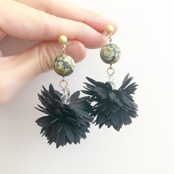 Black Vintage Camelia Fairy Bloom Earrings - Diary of a Miniature Enthusiast