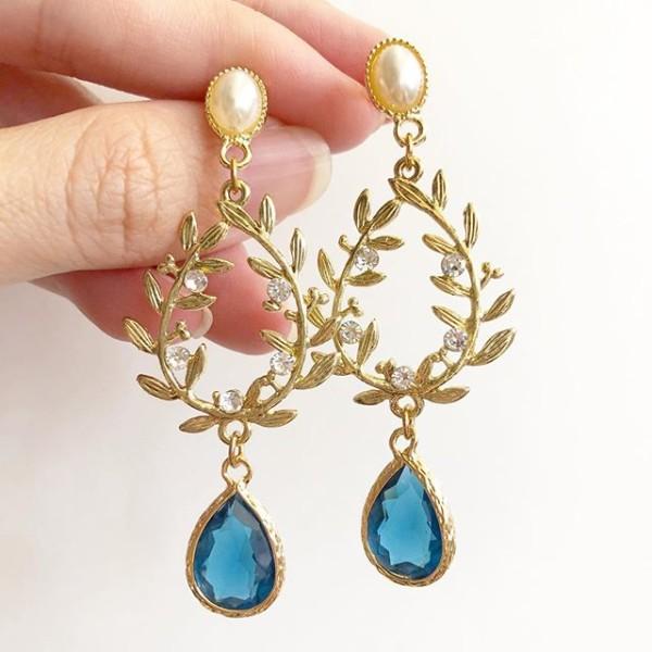 Blue Teardrop Long Dangle Earrings - Diary of a Miniature Enthusiast