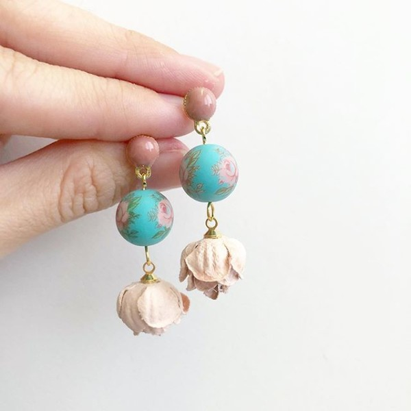 Pastel Pink Rose Turquoise Bloom Earrings - Diary of a Miniature Enthusiast