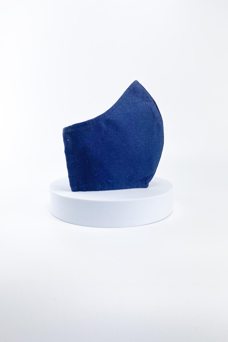 Blue Cotton Face Mask with Pocket Filter